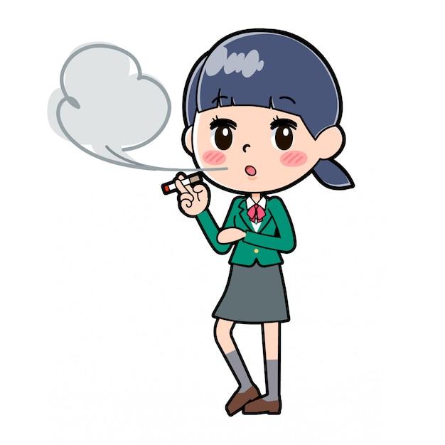 Out line schoolmeisje green_smoking