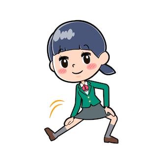 Out line schoolmeisje green_stretching