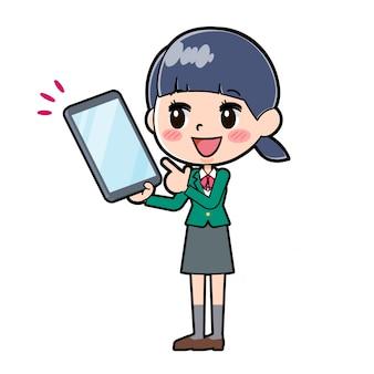 Out line schoolmeisje green_tablet-point