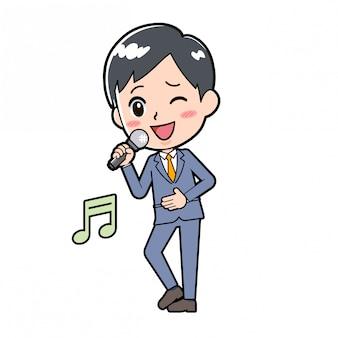 Out line zakenman lied zingen