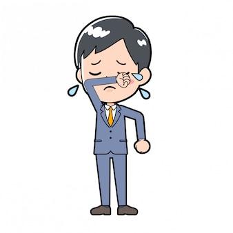 Out line zakenman tranen