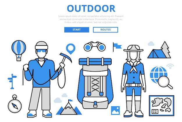 Outdoor actieve vakantie reizen bergwandelen toerisme concept platte lijn kunst pictogrammen.