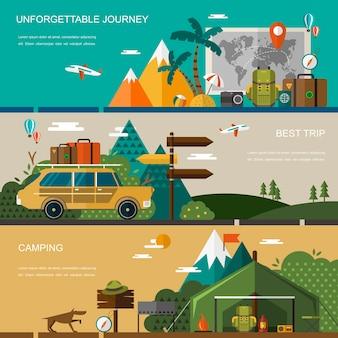 Outdoor activiteit concept banner in plat ontwerp