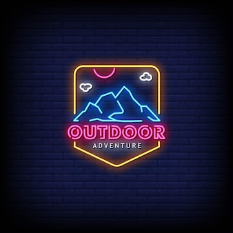 Outdoor adventure logo neon signs style text