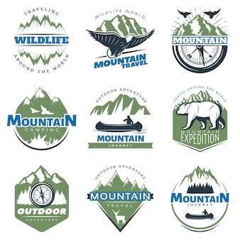 Outdoor avonturen en toerisme kleurrijke badges