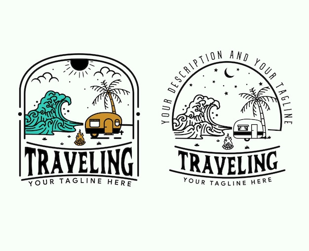 Outdoor avontuur retro embleem vintage avontuur set logo sjabloon met reis auto