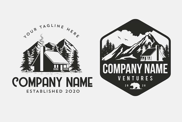 Outdoor cabin-logosjabloon voor huisverhuurbedrijven en klimmerontwerp