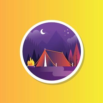 Outdoor camping achtergrond in de avondtijd