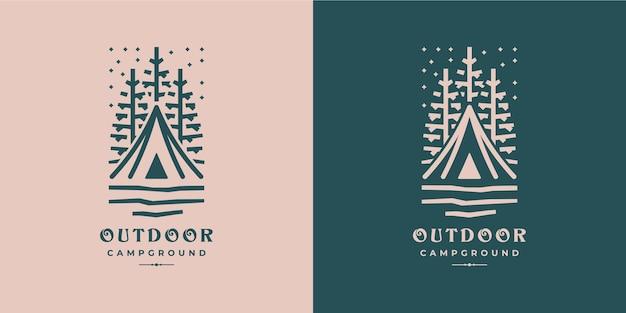 Outdoor camping bos natuur logo ontwerp