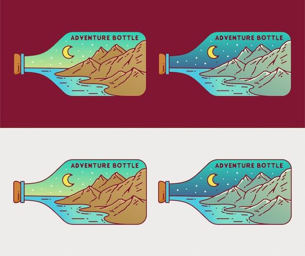 Outdoor monoline-insigne in flessenframe
