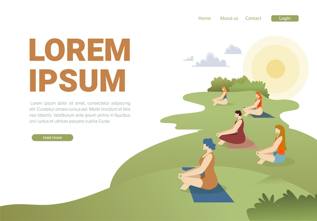 Outdoor pilates lesson landing page flat template