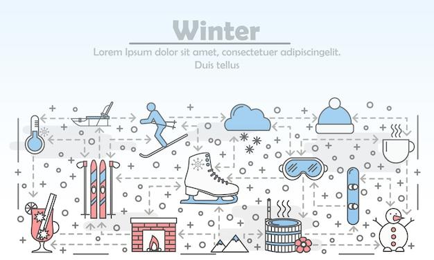 Outdoor winteractiviteiten reclame platte lijn kunst illustratie