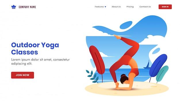 Outdoor yoga klassen gebaseerde landing page met jonge vrouw doen oefening in chakra asana pose op strandzicht.