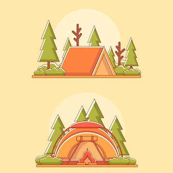 Outdooractiviteiten in de zomer in platte ontwerpillustratie