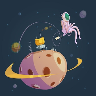 Outer space cartoon achtergrond