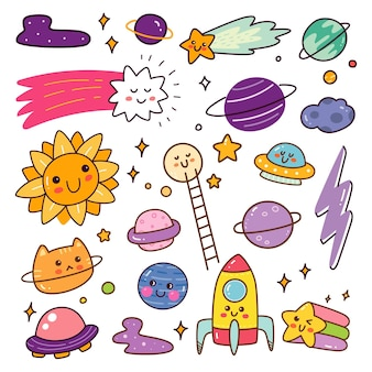 Outer space object kawaii doodle set