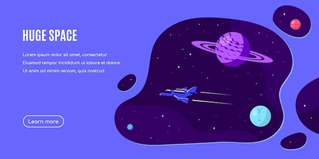 Outer space, science, astronomy and astrophysich banner template design