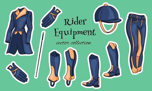 Outfit rider een set kleding voor een jockey boots pedjak broek zweep helm in cartoon stijl. verzameling van illustraties voor ontwerp en decoratie.