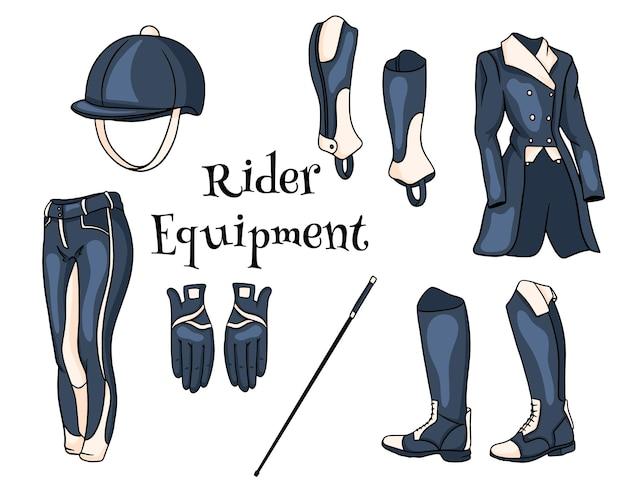 Outfit rider een set kleding voor een jockey boots pedjak broek zweep helm in cartoon stijl. verzameling