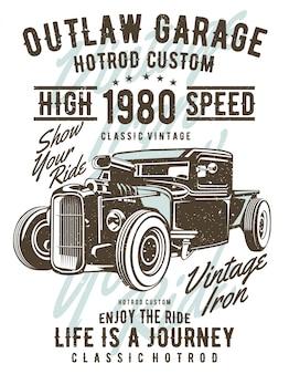 Outlaw garage illustratie ontwerp