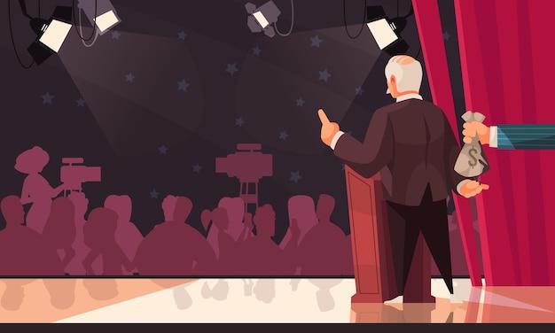 Outlaw vuil geld geheime bijdragen invloed in verkiezingsproces cartoon compositie