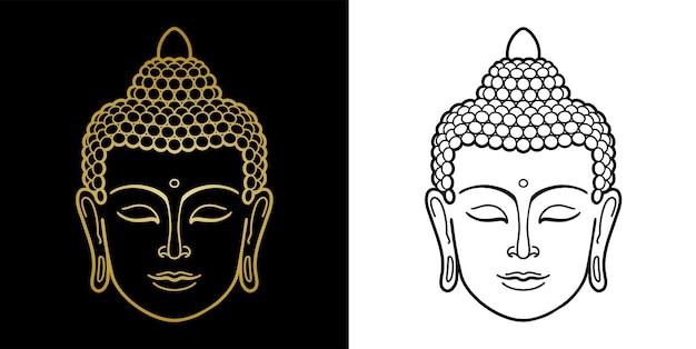 Outline buddha head set minimalistische print voor textiel tshirts tattoo