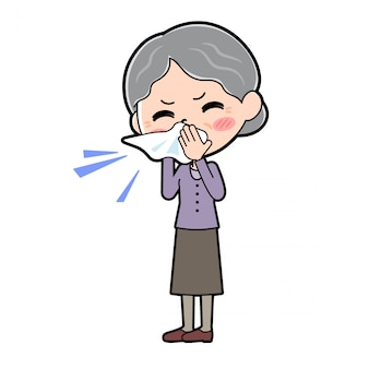 Outline paars draagt oma-rhinitis