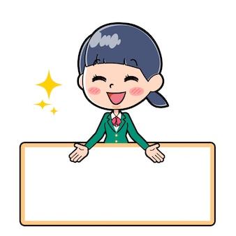 Outline schoolmeisje groen bord pronken