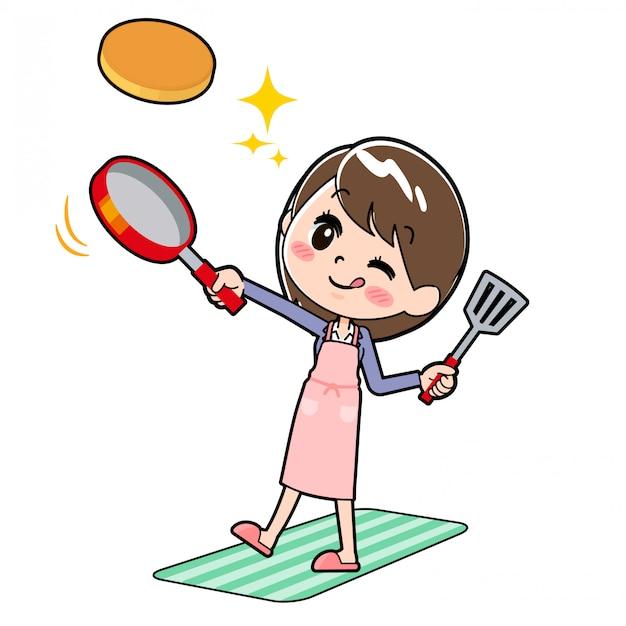 Outline zakelijke vrouw cook hotcake