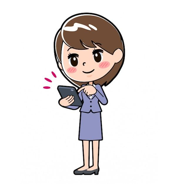 Outline zakelijke vrouw smartphone aanraking