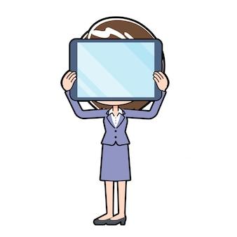 Outline zakelijke vrouw tablet privacy