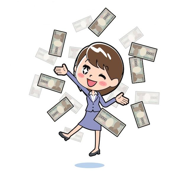 Outline zakenvrouw vliegende geld