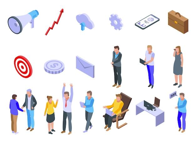 Outsource iconen set, isometrische stijl