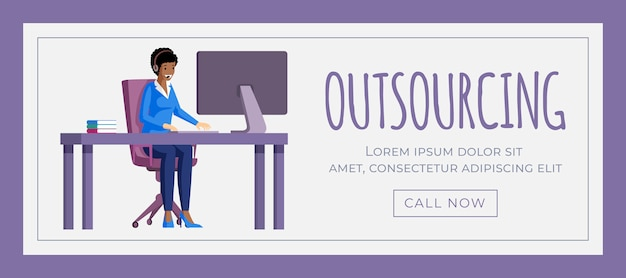 Outsourcing banner sjabloon. werk op afstand, virtueel kantoor, freelance posterontwerp. Premium Vector