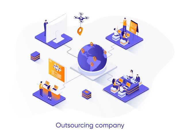 Outsourcing bedrijf isometrische illustratie met karakters van mensen