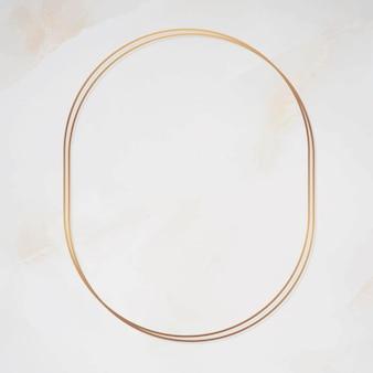 Ovaal gouden frame op marmeren achtergrond vector