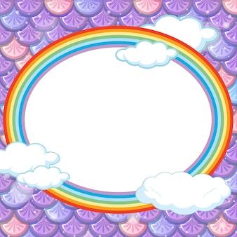Ovale framesjabloon op paarse visschubbenachtergrond