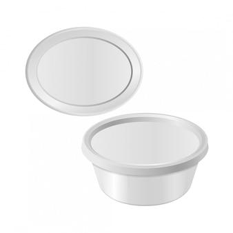 Ovale witte plastic doos voor uw ontwerp en logo.