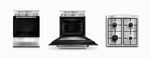 Oven, elektrische en gas keukenapparatuur boven- en vooraanzicht. huishoudtechniek met open of gesloten kachel met schakelaars. home tech apparatuur geïsoleerd witte achtergrond realistische 3d vector illustratie