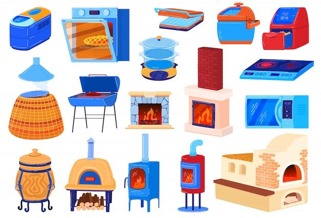 Oven kachel illustraties, cartoon set voor het koken van voedsel in de keuken met elektrische of gas kookplaat, oude ijzeren houtkachel