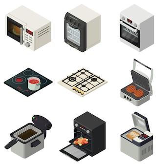 Oven kachel oven open haard pictogrammen instellen. isometrische illustratie van 16 oven oven open haard vector iconen voor web