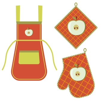 Ovenwant en ovenwant en schort hangend aan het rek aan haken, kleur geïsoleerde vectorillustratie in de vlakke stijl