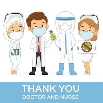 Over covid19, bedankt dokter en verpleegster