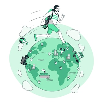 Over de hele wereld concept illustratie