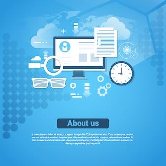 Over ons contact informatie template webbanner met kopie ruimte