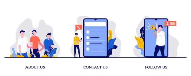 Over ons, neem contact met ons op, volg ons concept met een klein karakter en iconen