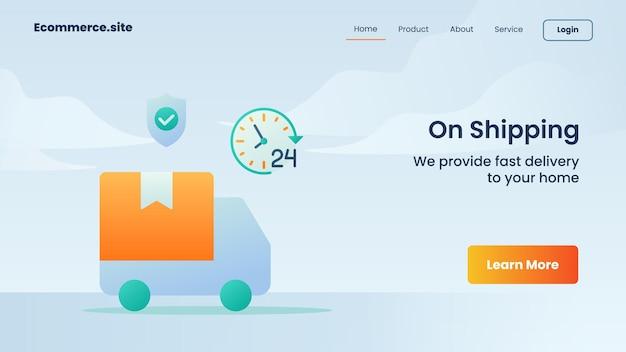Over verzendcampagne voor webwebsite startpagina bestemmingspagina banner sjabloon flyer