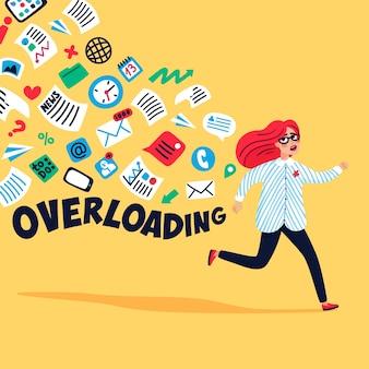 Overbelasting van de ingang. informatie-overload concept.