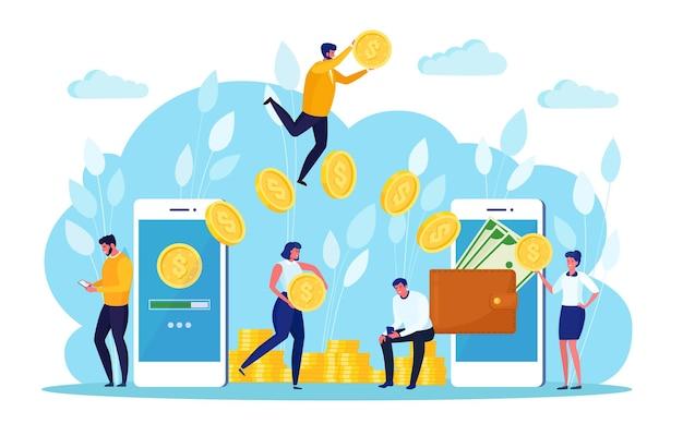 Overboeking met digitale portemonnee. cashback, beloning. mobiele telefoon met bank-app. online betaling
