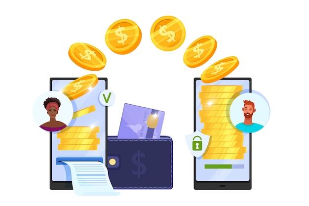 Overboeking of veilig online financieel betalingsconcept met smartphones, vliegende munten, portemonnee, creditcard.